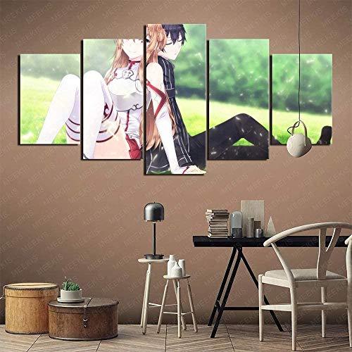 wodclockyui 5 Piezas Cuadro de Lienzo- Sword Art Online Asuna Kirito Pintura 5 Impresiones de imágenes Decoración de Pared para el hogar Pinturas y Carteles de Arte HD 200cmx100cm sin Marco