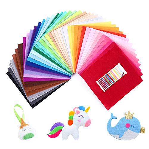 SOLEDI Feltro Colorato Feltro in Fogli 41 Colori 30 * 30 cm Feltro e Pannolenci Usato per DIY Mestieri per Bambini Protezione Ambientale, Sicura e Non Tossica con Bobina di Filo Tre Dimensioni