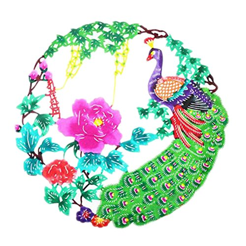 Black Temptation 4PCS Chinese Traditional Art Paper Cut Décor Collection colorée Souvenir-A08
