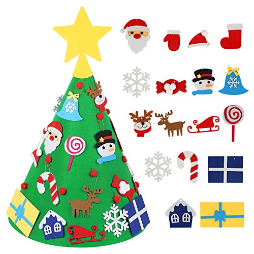 LANMOK 3D Felt Christmas Tree, Toddler DIY Xmas Tree with 17pcs Christmas Hanging Ornaments for Kids Xmas Gifts New Year Christmas Home Decorations