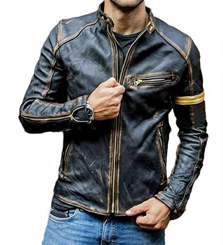ZSYDS Chaqueta de Motocicleta de Piel sintética de los Hombres, Chaqueta de Cuero para Hombre, Puffer Acolchado Parka Abrigo Vintage Collar Punk Motocicleta Chaqueta de Cuero