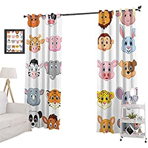 YUAZHOQI Window Treatment Curtains Kids Decoration Baby Animals Lions Pigs Cows Farm Safari Baby Nursery Room Image, Blackout Curtains for Nursery 52″ x 63″, Multicolor