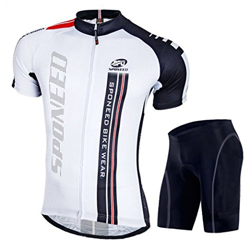 Men's Cycling Outfit Bike Jersey Set Short Sleeve Tshirt Shorts Bicycle Bottoms Padded Asia M/US S Black White