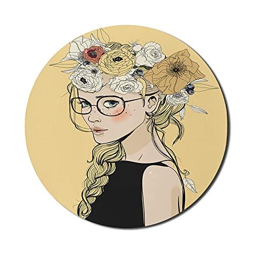 Feminine Mauspad für Computer, Cartoon junge Dame mit Blumenstirnband Schmetterling Sommerton Illustration, Runde rutschfeste dicke Gummi Modern Gaming Mousepad, 8 'Runde,...