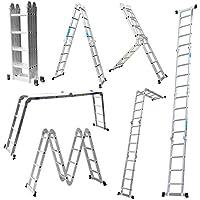 Escalera Mctech®, 6en 1,de aluminio, telescópica, 340/470cm, multiusos, con articulaciones regulables, para andamio de trabajo, 4X4 Stufen mit plattform
