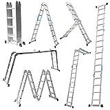 Escalera Mctech®, 6en 1,de aluminio, telescópica, 340/470cm, multiusos, con articulaciones regulables, para andamio de trabajo, 4X4 Stufen mit plat