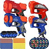 4 Packs Toy Gun for Nerf Guns w/ Nerf Bullets, SupAI for Nerf Pistol w/ 120 Refill Darts, 4 Wristband & 4 Target for Nerf Guns, Foam Blasters Nerf Guns for Boys, Kids Toys for 4 5 6 7 Years Old Boys