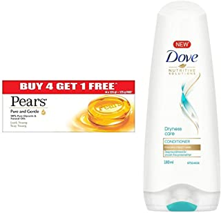 Pears Pure And Gentle Bathing Bar, 125g (Pack Of 5) & Dove Dryness Care Conditioner, 180ml