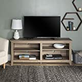 Walker Edison Wood 58' Console | Flat-panel TV's up to 64' | 4 Storage Shelves | Driftwood