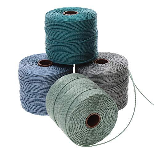 Beadsmith S-Lon #18 Cordón, paquete múltiple con 4 carretes (Ocean Mist Mix), ideal para enhebrar cuentas de ganchillo y joyería de micro macramé