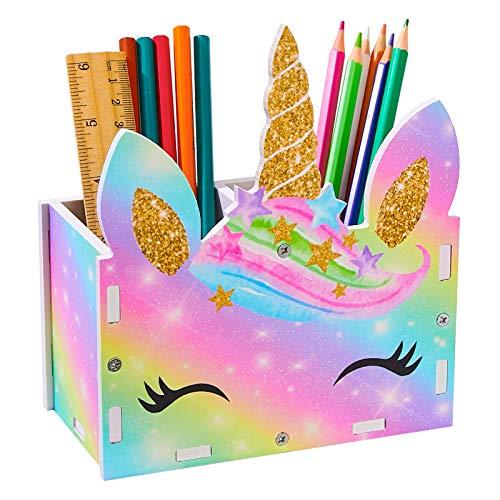 Basumee Unicorn Tisch Organizer Holz Schreibtisch Kinder Schreibtisch Tidy Makeup Brush Holder Organizer,Gelbes lila Einhorn
