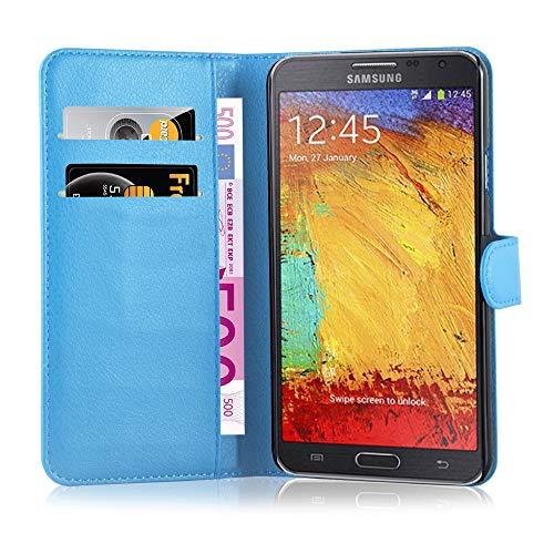 Cadorabo Hülle kompatibel mit Samsung Galaxy Note 3 NEO Hülle in Pastel BLAU Handyhülle mit Kartenfach und Standfunktion Schutzhülle Etui Tasche