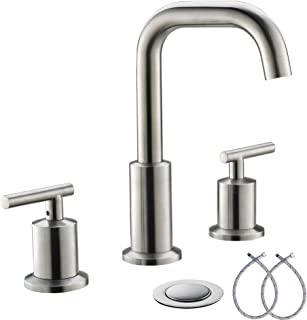 Lead-Free 8 Inch 3 Pieces 2 Handles Widespread Bathroom Sink Faucet With Full-Copper Pop Up Drain And Valve By PHIESTINA, Brushed Nickel Finish,WF002-1-BN