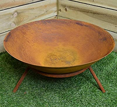 56 cm Wide Outdoor Garden Fire Bowl Rustic Burner with Natural Rust Finish by Woodlodge