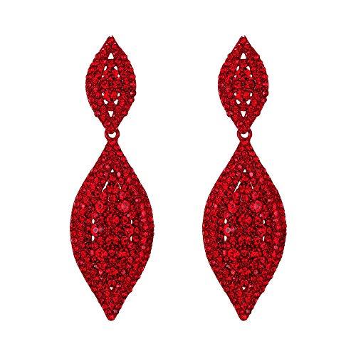 EVER FAITH Orecchini Donna Cristallo Nozze nuziale Fascino 2 Foglia a goccia Clip On Orecchini pendenti Rosso Rosso-fondo