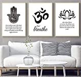 GSMWY Islamic Buddhist Hamsa Hand Lotus Quotes Prints Poster Canvas Painting for Living Room Wall Decor Art Mural Modular Wall Picture 3 Pieces 40x60cm no Frame