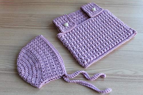 Spar-Set: Baby-Top & Mütze für Mädchen gehäkelt, 0-3 Monate