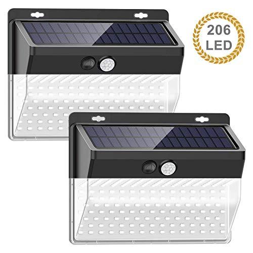 Luz Solar de Exterior, TBONEEY 2 Paquetes Luces Solares 206 LED/ 3 Modos Lámpara Solar Exterior IP65 Impermeable Gran Ángulo 270º Solar Luz LED Iluminación Exterior con Sensor...