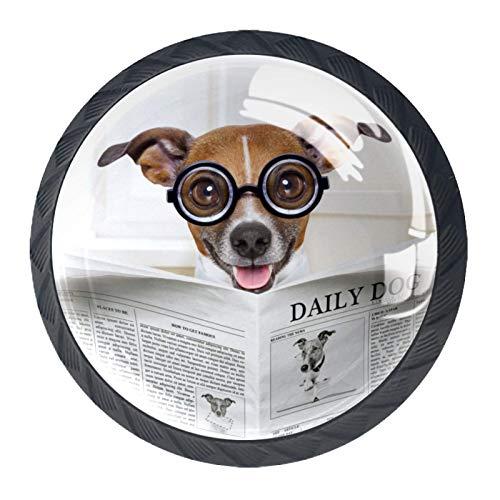 Pomos y Tiradores Infantiles Gafas perro marrón Tiradores para muebles cristal Pomo para muebles Tirador de armario 4 piezas para Habitación de Infantil Decoración 3.5×2.8CM