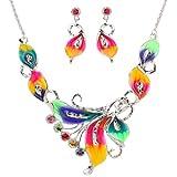 YAZILIND Joyas de colores de cristal Phoenix hoja de plata tibetana fornido...