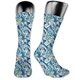 vnsukdlfg Medium long Crew Socks,Paisley,Authentic Asian Inspired Floral Persian Fashion Boho Art Illustration Print,Unisex 15.7