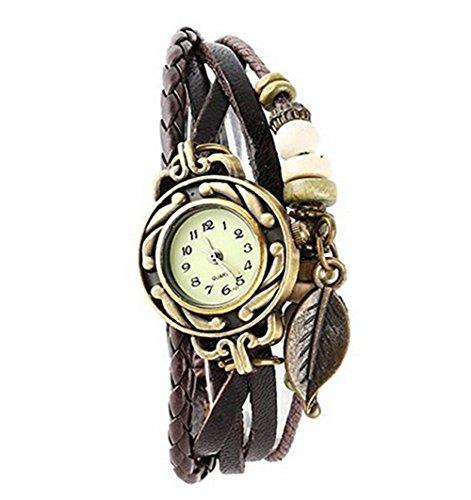 AIUIN 1 x Armbanduhr, Größe verstellbar, Blattanhänger, Armbanduhr aus geflochtenem Leder.