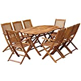 <span class='highlight'>Tidyard</span> 9 Piece <span class='highlight'>Outdoor</span> <span class='highlight'><span class='highlight'>Dining</span></span> <span class='highlight'>Set</span> Chairs Stand and Table for Garden Patio Campsite Children Solid Acacia Wood Brown