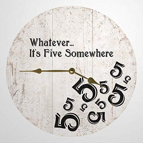 Five O'Clock Somewhere Clock - Reloj de pared (madera, 30,5 cm, funciona con pilas, 12 cm), color blanco y negro