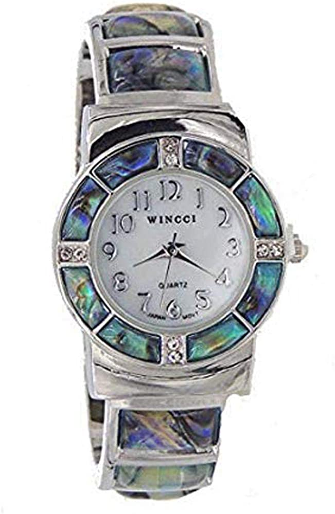 online shop Abalone Watch Bangle Cuff Now free shipping Inlay Style Crystal Fits with Accents-