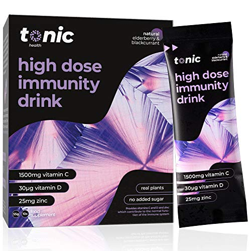Tonic High Dose Immunity Drink, 10x Immune Booster Sachets, Multivitamins High Strength Mix of Vitamins C, D, Zinc, & Plant Extracts, for Health Protection & Energy Boost - Elderberry & Blackcurrant