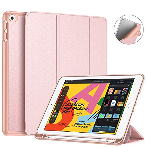 Fintie SlimShell Case for New iPad 7th Generation 10.2 Inch 2019 with Built-in Pencil Holder - Smart Stand Soft TPU Back Cover, Auto Wake/Sleep for iPad 10.2' Tablet, Rose Gold