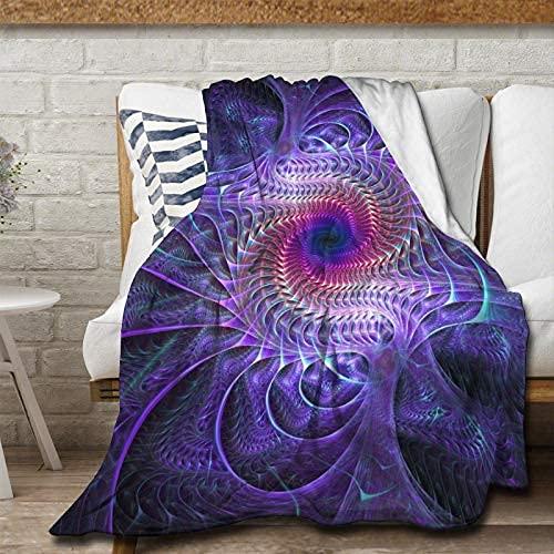 Manta de franela psicodélico de color púrpura, manta suave y cálida, mullida, microfibra ligera para cama, sofá, silla, sala de estar, 150 x 100 pulgadas para adolescentes