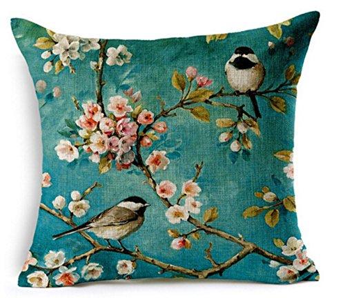 QINU KEONU Oil Painting Hundreds of Birds Cotton Linen Throw Pillow Case Cushion Cover Home Sofa Decorative 18 X 18 Inch(3)
