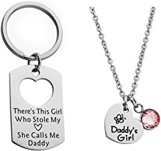 Ankiyabe Father Daughter Gift Dad Keychain and Daddy's Girl Necklace Matching Jewelry Set Gift for Daddy from Daughter