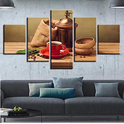 YXBNB 5 aufeinanderfolgende Gemälde Leinwand Malerei Kaffeebohne Leckeres Essen Druckt Wandkunst Wohnkultur 5 Stücke Dekorative Bild für Wohnzimmer