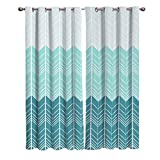 FortuneHouse8 Blackout Curtains Thermal Insulated Geometric Chevron Ombre Teal Room Drapes Window Curtain for Bedroom Living Room Set of 2 Curtain Panels Home Fashion 40x84inch