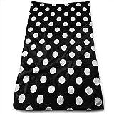 Qidsuf - Juego de toallas de baño negras con diseño de lunares, color blanco