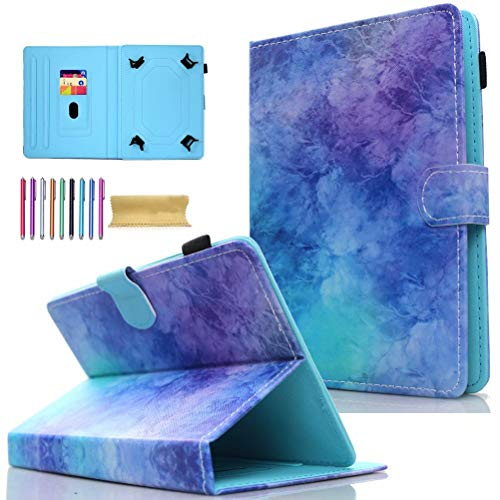 Universal 7.0' Tablet Case, AMOTIE Wallet Stand Cover w/Credit Card Slots for Samsung Galaxy Tab E 7.0/ Tab A 7.0/ Fire 7.0 2015 2017/ Lenovo/RCA and More 6.5-7.5 inch Tablet, Purple Sparkle