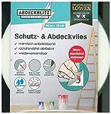 ABDECKBLITZ Schutz- und Abdeckvlies 0,10 x 50 m | selbstklebend, reißfest, wasserbeständig | rutschhemmende Oberfläche, rückstandslos ablösbar, wiederverwendbar