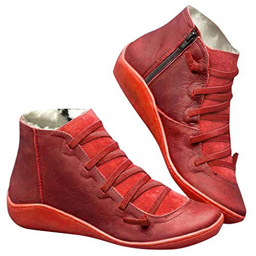 Fenverk 2019 Neue Frauen Casual Arch Support Stiefel Stiefeletten Damen Flache Slip-On Bequeme Booties Side ReißVerschluss Schuhe Anti-Vintage SchnüRschuhe Fersenstiefel Kurzer Boot(A rot,36 EU)