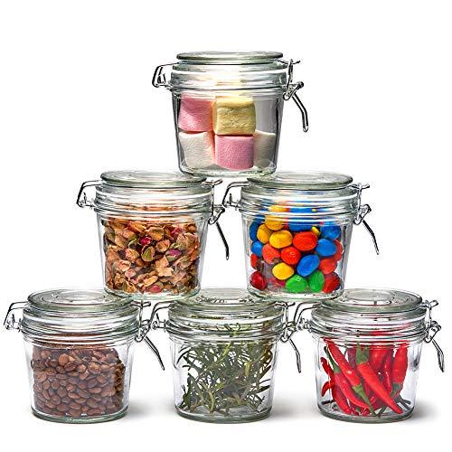 EZOWare 6 Pcs Tarros de Cristal Herméticos con Cierre de Clip, Frascos Botes con Tapa Abatible para Almacenaje y Conservar Alimentos, Especias, Uso en Cocina, Baño - 350ml