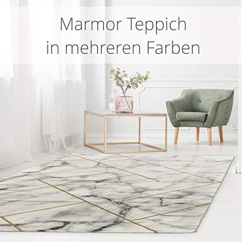 onloom Wohnzimmerteppich Craft, Stein-Optik Teppich mit 3D Effekt fürs Wohnzimmer oder Flur, Farbe:Geometrisch Gold, Größe:80 x 300 cm