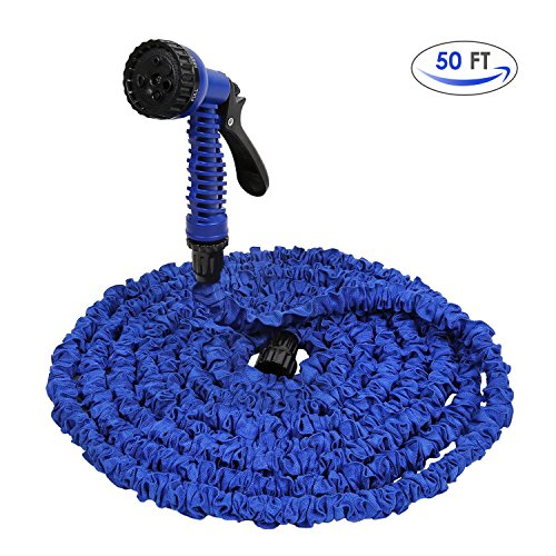 amzdeal Expandable Garden Hose 50 ft with 7 Patterns Garden Spray Nozzle for Car Wash Cleaning...