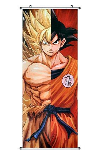CoolChange Großes Dragon Ball Rollbild / Kakemono aus Stoff Poster, 100x40cm, Motiv: Super-Saiyajin