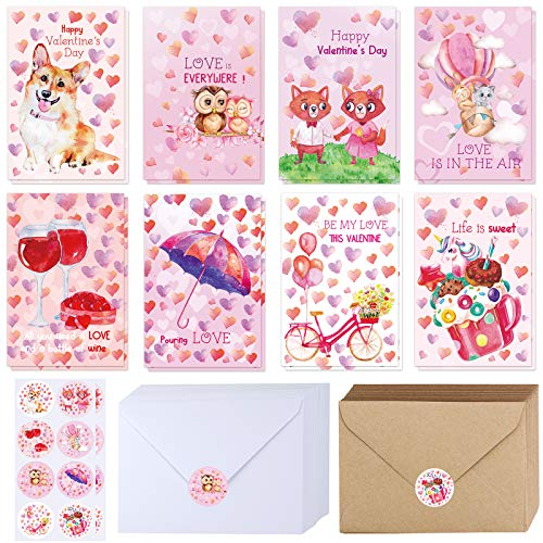 "120 Sets Bulk Blank Valentine's Day Cards with Envelopes Stickers Assortment Bulk 8 Designs of Watercolor Heart Corgi Dog Owl Fox Dessert Greeting Cards Note Cards 4"" x 6"" for Valentine's Day Party"