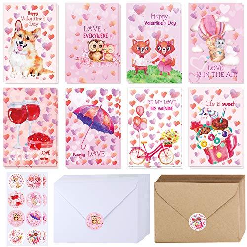 120 Sets Bulk Blank Valentine's Day Cards with Envelopes Stickers Assortment Bulk 8 Designs of Watercolor Heart Corgi Dog Owl Fox Dessert Greeting Cards Note Cards 4' x 6' for Valentine's Day Party