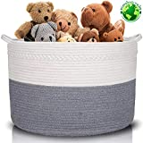 XXXLarge Cotton Rope Basket | Wide 22' x 22' x 14' | 100% Cotton | Woven Storage Basket Extra Large...
