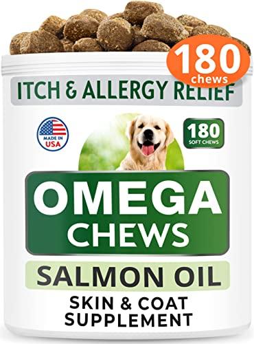 Bark&Spark Omega 3 for Dogs - 180 Fish Oil Chews - Allergy &...