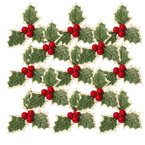 30 pezzi di simulazione natalizia bacche di agrifoglio con foglie verdi,bacche di agrifoglio artificiale foglie verdi per la disposizione di ghirlande natalizie di nozze,frutta rossa artificiale