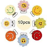 let's make Pinzas para Chupete Ganchillo Clip De Metal Sun Flower & Smile en forma de 10pc Color Mixto Accesorios de Joyería de Enfermería de Bricolaje